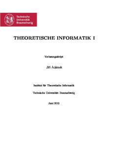 THEORETISCHE INFORMATIK I