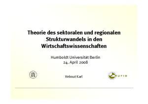 Theorie des sektoralen und regionalen Strukturwandels in den Wirtschaftswissenschaften