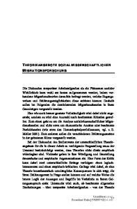 THEORIEANGEBOTE SOZIALWISSENSCHAFTLICHER MIGRATIONSFORSCHUNG