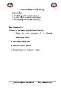 Theories in Mental Health Nursing