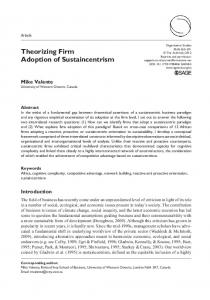 Theorizing Firm Adoption of Sustaincentrism
