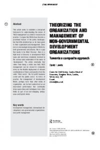 THEORIZING THE ORGANIZATION AND MANAGEMENT OF NON-GOVERNMENTAL DEVELOPMENT ORGANIZATIONS