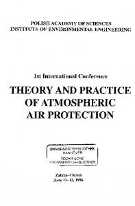 THEORY AND PRACTICE OF ATMOSPHERIC AIR PROTECTION