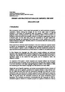 THEORY AND PRACTICE OF PARALLEL IMPORTS: THE NEW ZEALAND CASE