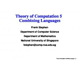 Theory of Computation 5 Combining Languages