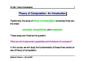 Theory of Computation: An Introduction