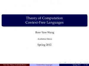 Theory of Computation Context-Free Languages