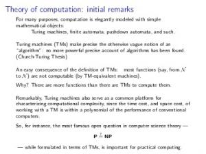 Theory of computation: initial remarks