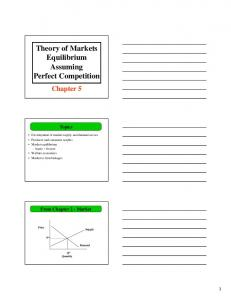 Theory of Markets Equilibrium Assuming Perfect Competition