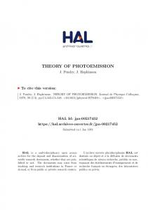 THEORY OF PHOTOEMISSION