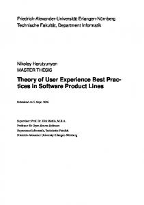 Theory of User Experience Best Practices in Software Product Lines