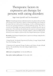 Therapeutic factors in expressive art therapy for persons with eating disorders