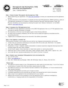 Therapeutic Use Exemption (TUE) Checklist and Application