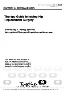 Therapy Guide following Hip Replacement Surgery