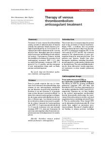 Therapy of venous thromboembolism: anticoagulant treatment