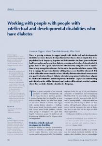 There is greater recognition of the increased. Working with people with people with intellectual and developmental disabilities who have diabetes