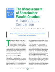 There is not full agreement on both sides of. The Measurement of Shareholder Wealth Creation: A Transatlantic Comparison
