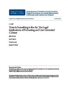 There Is Something in the Air: The Legal Implications of Podcasting and User Generated Context