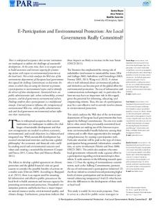 There is widespread acceptance that current. E-Participation and Environmental Protection: Are Local Governments Really Committed?