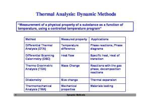 Thermal Analysis: Dynamic Methods