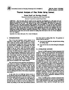Thermal Analysis of Disc Brake Using Comsol