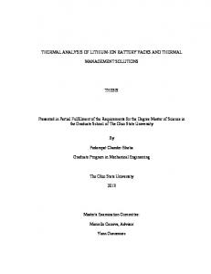 THERMAL ANALYSIS OF LITHIUM-ION BATTERY PACKS AND THERMAL MANAGEMENT SOLUTIONS THESIS