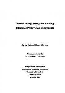 Thermal Energy Storage for Building- Integrated Photovoltaic Components