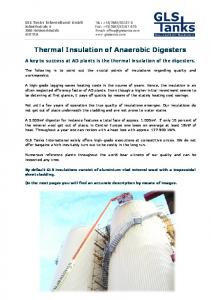 Thermal Insulation of Anaerobic Digesters