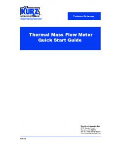 Thermal Mass Flow Meter Quick Start Guide
