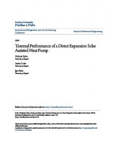 Thermal Performance of a Direct Expansion Solar Assisted Heat Pump