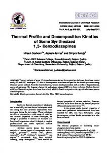 Thermal Profile and Decomposition Kinetics of Some Synthesized 1,5- Benzodiazepines
