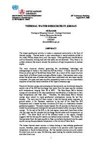 THERMAL WATER RESOURCES IN JORDAN