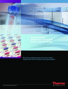 Thermo Scientific Refrigerators and Freezers Guide for Vaccine Storage