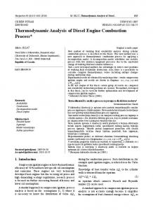 Thermodynamic Analysis of Diesel Engine Combustion Process*