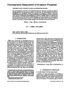 Thermodynamic Measurement of Di-calcium Phosphate