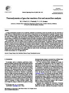 Thermodynamics of gas-char reactions: rst and second law analysis