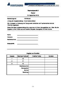 Thermodynamik 2 Klausur 15. September 2010