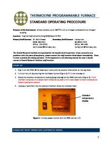 THERMOLYNE PROGRAMMABLE FURNACE STANDARD OPERATING PROCEDURE