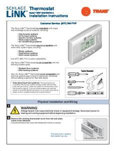 Thermostat Model TZEMT400AB32MAA Installation Instructions