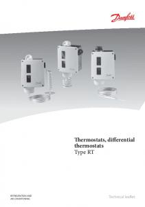 Thermostats, differential thermostats Type RT REFRIGERATION AND AIR CONDITIONING. Technical leaflet