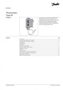 Thermostats Type RT. Data sheet