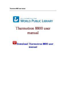 Thermotron 8800 user