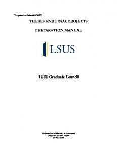 THESES AND FINAL PROJECTS PREPARATION MANUAL