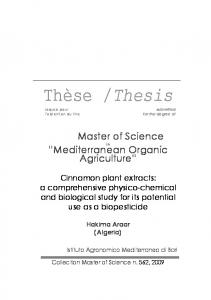 Thesis. Master of Science. Mediterranean Organic Agriculture