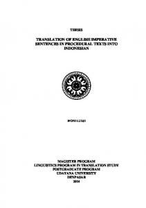 THESIS TRANSLATION OF ENGLISH IMPERATIVE SENTENCES IN PROCEDURAL TEXTS INTO INDONESIAN