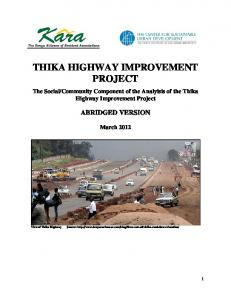 THIKA HIGHWAY IMPROVEMENT PROJECT