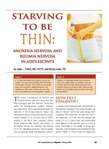 Thin: Anorexia Nervosa and Bulimia Nervosa in Adolescents