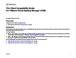 Thin Client Compatibility Guide For VMware Virtual Desktop Manager (VDM)