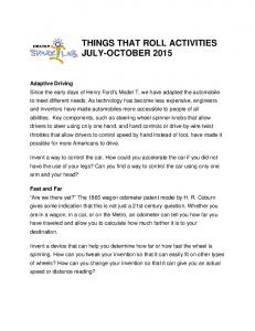 THINGS THAT ROLL ACTIVITIES JULY-OCTOBER 2015