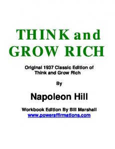 THINK and GROW RICH Original 1937 Classic Edition of Think and Grow Rich Napoleon Hill Workbook Edition By Bill Marshall